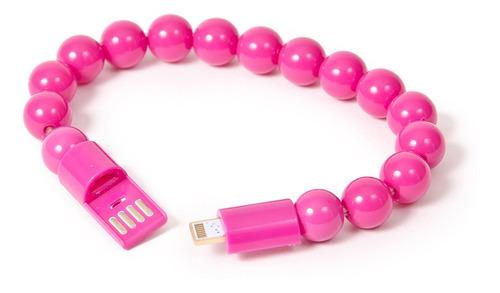 cable cargador de celular tipo pulsera pelotitas fucsia