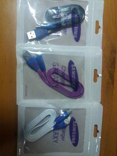 cable cargador samsung micro usb plano 1 m, luces v8, tienda