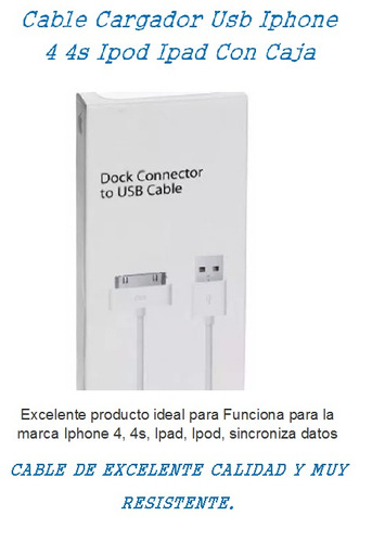 cable cargador usb iphone 4 4s ipod ipad con caja nuevos