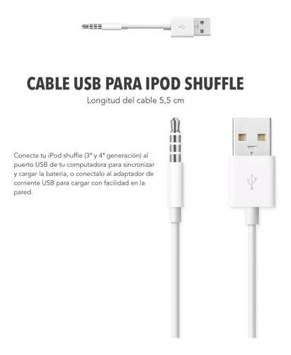 cable cargador usb para ipod shuffle (3ª y 4ª generacion) de 5,5 cm