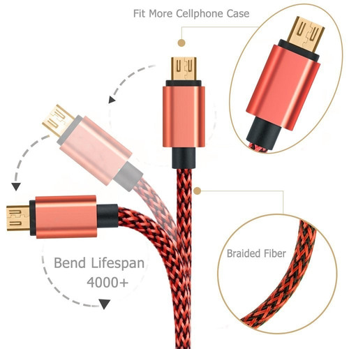 cable celular android micro usb 3mt  cable trenzado ldnio