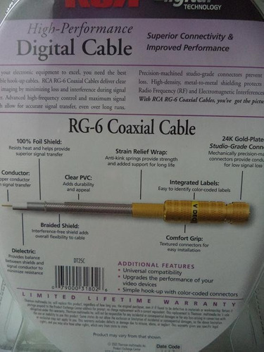 cable coaxail rca digital cable tecnology de 7.60metros