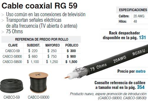 Cable coaxial rg 59 marca voltech coaxeal oferta 295 - Cable coaxial precio ...