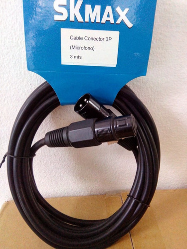 cable conector 3p para micrófono 3mts suministros fauca