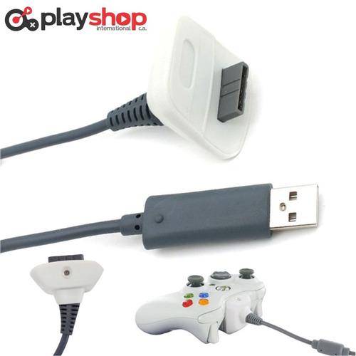 cable control xbox 360 juega y carga usb cargador nuevo