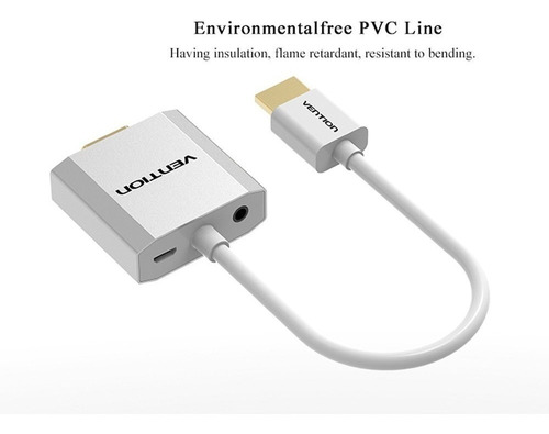 cable conversor hdmi a vga full hd con audio cargador metal