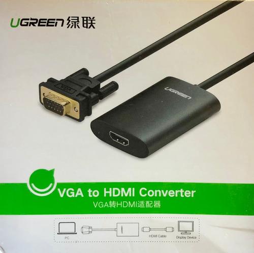 cable convertidor adaptador vga macho a hdmi hembra c/audio