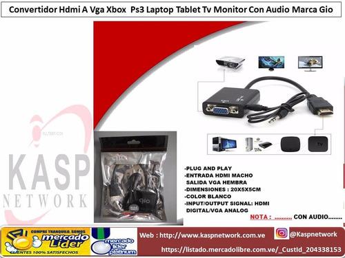 cable convertidor hdmi a vga laptop  tv monitor con audio