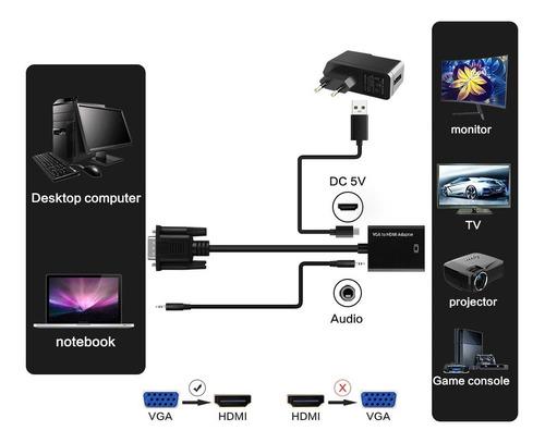 cable convertidor vga a hdmi + audio 3.5 stereo y corriente