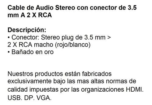 cable de audio mini plug stereo a 2 plug rca 2 mts
