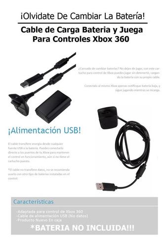 cable de carga bateria y juega para controles xbox 360