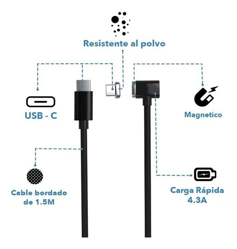 cable de carga magnetico usb c - para macbook 200cm magsafe