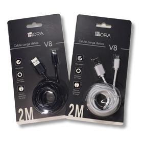 Cable De Carga Turbo Y Datos V8 2 Metros 1hora Alta Calidad