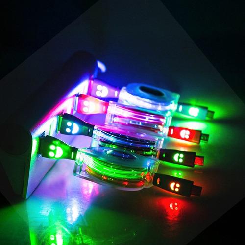 cable de datos 1 m retráctil de luz led para android