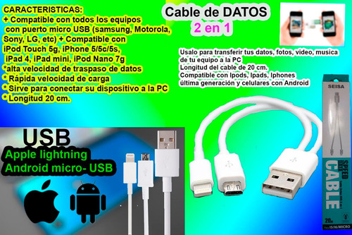 cable de datos usb 2 en 1 micro usb iphone android