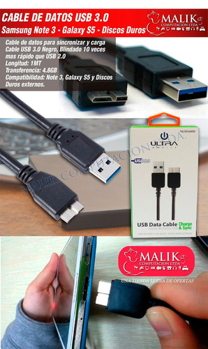 cable de datos usb 3.0 disco duro samsung note 3 galaxy s