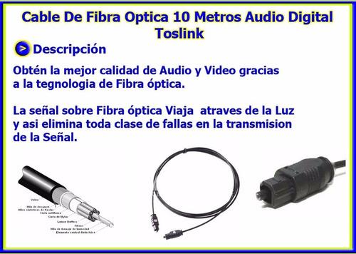 cable de fibra optica 10 metros audio digital toslink