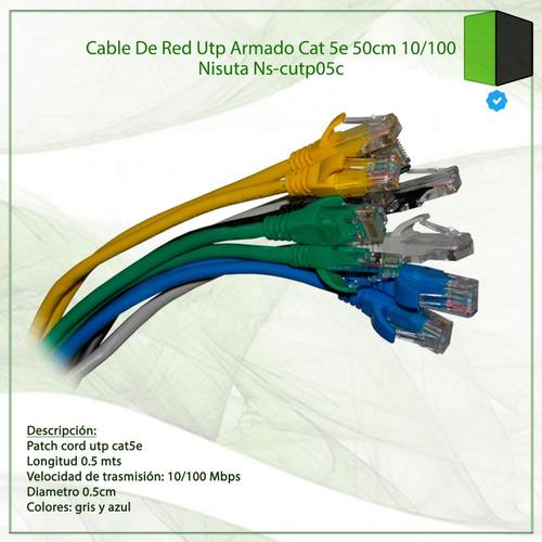 cable de red utp armado cat 5e 50cm 10/100 nisuta ns-cutp05c
