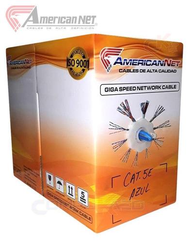cable de red utp cat. 5e america net en caja de 305 m. azul