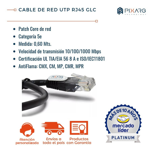 cable de red utp rj45 patchcord 60cm cat 5e glc ideal rack