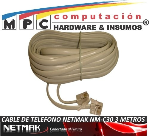 cable de telefono plano 4 hilos netmak nm-c30 3 metros nuevo