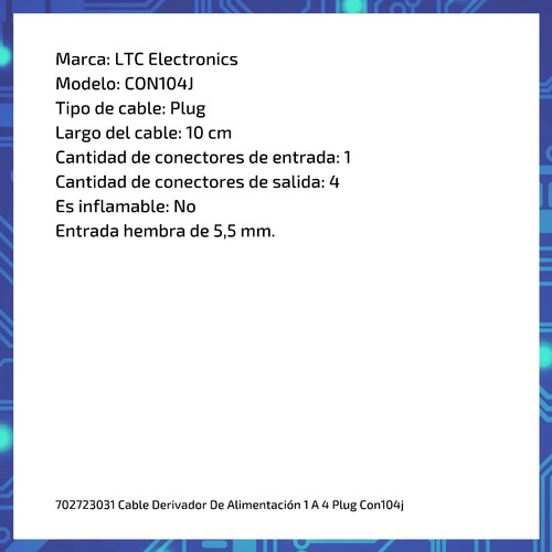 cable derivador de alimentación  1 a 4 plug con104j