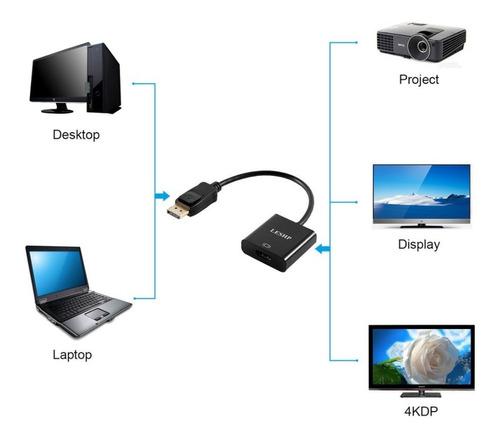cable displayport a hdmi adaptador / dp / display port negro