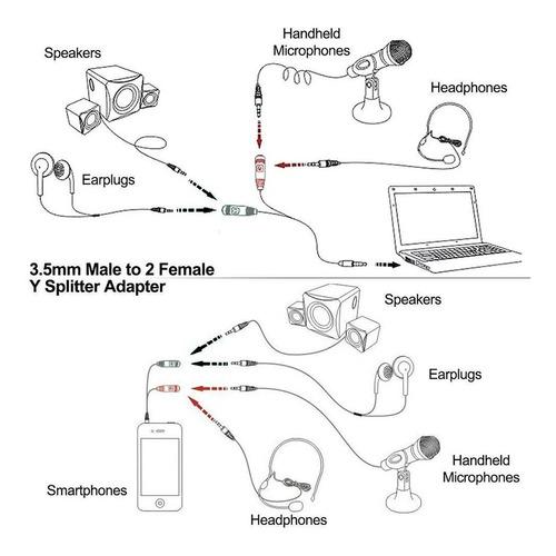 cable divisor audio 3,5 4 polos 3 polos micrófono auricular