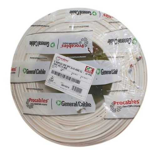 cable duplex cpe spt 2 x 16 awg blanco x 100m 300v 60c proca