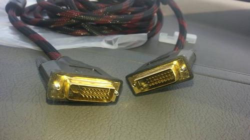 cable dvi a dvi nylon red doble anillo 24+1 pin macho/macho