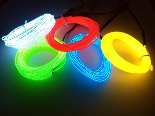 cable electroluminiscente - 3 metros luminoso - a  bateria