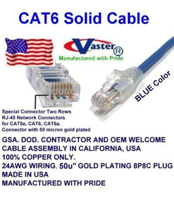 Made in USA UL CMR 23AWG UTP Cat.6 Ethernet Patch Cable Super E Cable SKU-81979 Yellow 40 FT