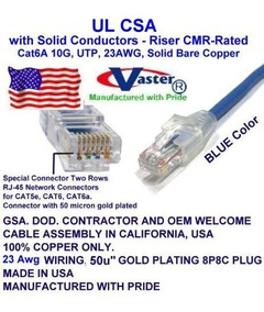 UL CMR 23AWG UTP Cat.6 Ethernet Patch Cable US-A-81979 Yellow Super E Cable SKU 26 FT Made in USA