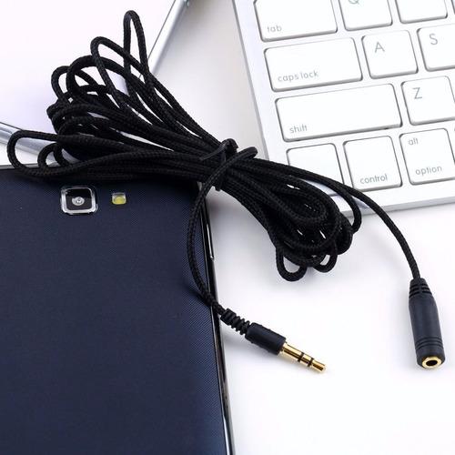 cable extension plug macho 3.5mm  a hembra 3 mts de tela mic