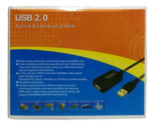 cable extension usb 2.0 activa 25 metros   3960