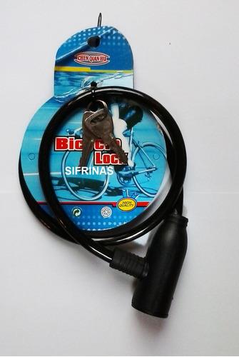 cable guaya para bicicletas acero trenzado cilindro c/llaves