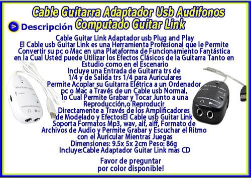 cable guitarra adaptador usb audifonos computado guitar link