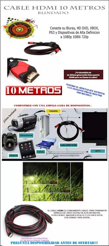 cable hdmi 10 metros full hd 1080p ps3 xbox 360 laptop tv pc
