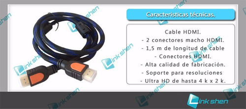 cable hdmi 1,5 mts hight quality speed oferta x mayor!