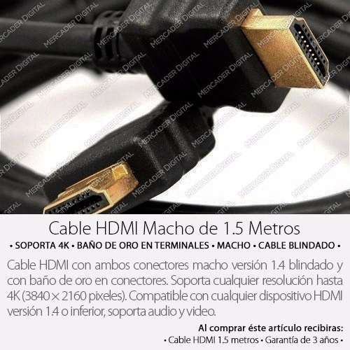 cable hdmi 1.5m full hd 1080p tv led 3d ps3 ps4 xbox 360 one