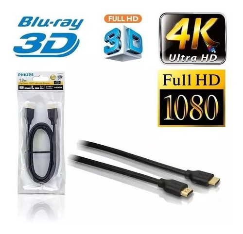 cable hdmi 1.8m philips swv5401h ultra hd 4k 3d