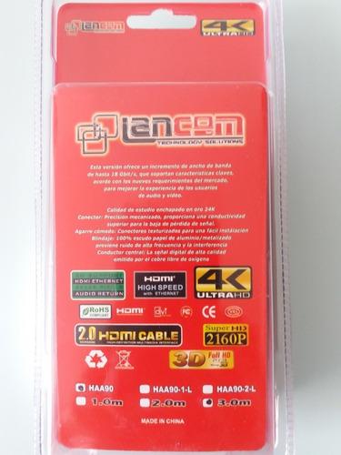 cable hdmi 2.0 4k ultra hd 3m marca lancom ultra delgado