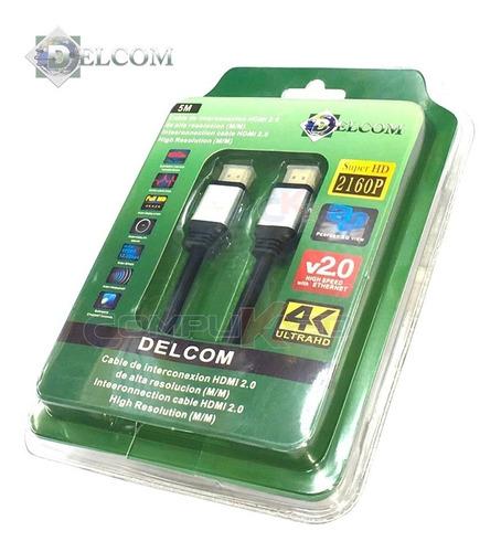 cable hdmi 2.0 de 5 metros delcom ultra hd 4k 3d audio video