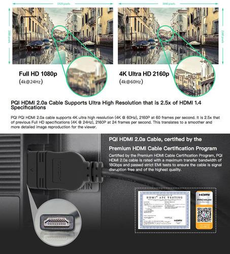 cable hdmi 2m av pqi ultra hd ver 2.0a certificado 3d 4k ps4
