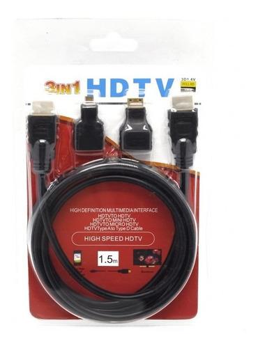 cable hdmi 3 en 1 mini + micro titan belgrano