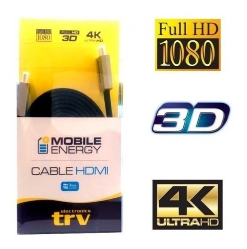 cable hdmi 3 mts v1.4 trv 1080p 3d 4k