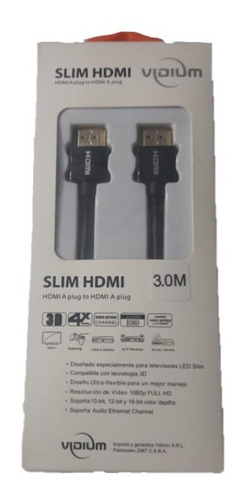 cable hdmi 4k 3 metros slim full hd 3d vidium