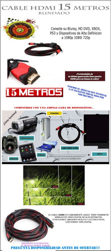 cable hdmi 5 metros full hd 1080p ps3 ps4 xbox 360 laptop