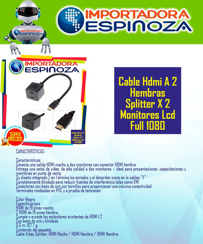 cable hdmi a 2 hembras splitter x 2 monitores lcd full 1080