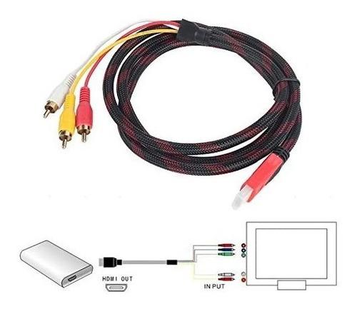 cable hdmi a 3 rca a/v 3mts ps3 ps4 tv camara dvd proyector